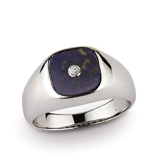10k Solid White Gold Gemstone Ring for Men with 0.03ct  Genuine Diamond
