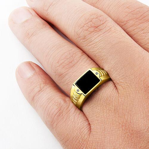 10K Fine GOLD Ring For Men with NATURAL BLACK ONYX and Genuine Diamonds