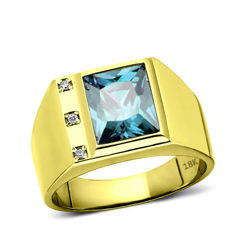 Men's Solid 18K Gold Blue Topaz Ring with 3 Natural Diamond Accents