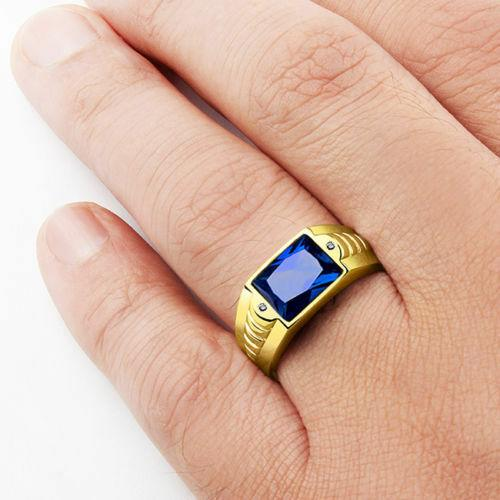 Mens Blue Sapphire Ring Solid 14k Fine Yellow Gold Genuine Diamond Ring For Him
