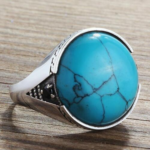 Blue Natural Round TURQUOISE Men's Ring in 925 Sterling Silver Extra Onyx Accents