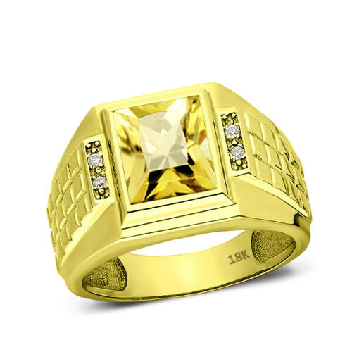 Men's Band Ring Comfort Fit Yellow Citrine and 4 Diamonds 18K Solid Gold
