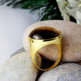 Men's 10K SOLID GOLD with NATURAL TIGERS EYE Large Gemstone Gents Ring