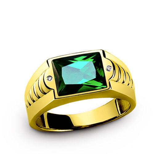 Men's Solid 18k Yellow Gold Green Emerald Gemstone Ring with 2 Diamond Accents