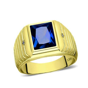 Men's Solid 18K Yellow Gold Blue Sapphire Ring 0.04ct Diamonds Fine Ring