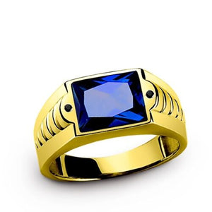 Men's Sapphire Ring in 10K SOLID Fine Yellow GOLD with 2 Onyx Gemstone Accents