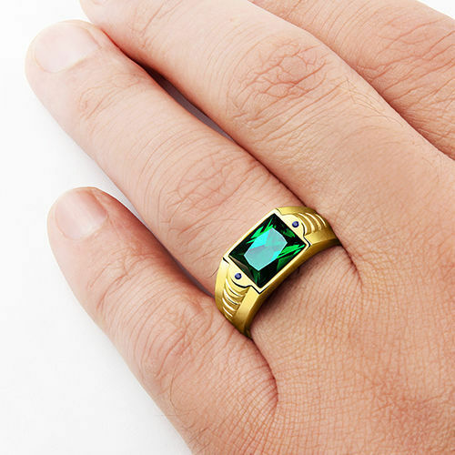 Mens Emerald Ring Solid 14k Fine Gold Blue Sapphire Accents Ring