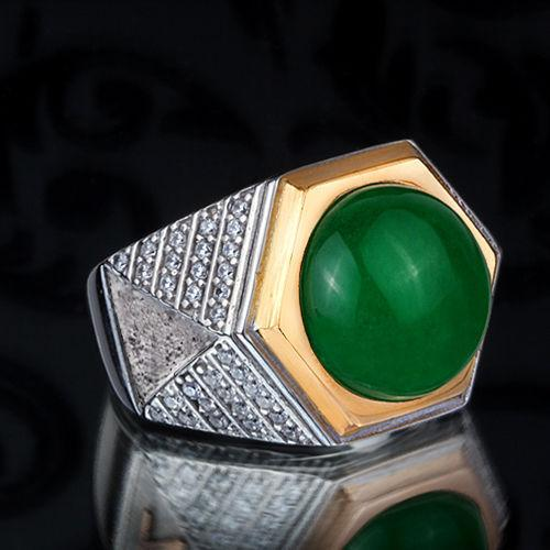 Men's Handmade Ring with Green Jade Natural Gemstone in SOLID 925