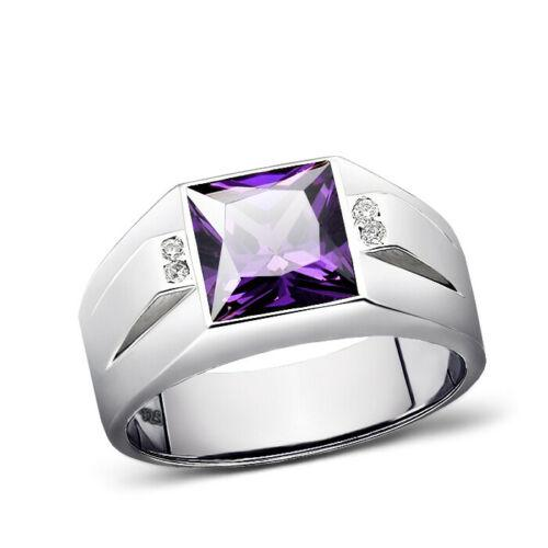 Real 925 Solid Sterling Silver Men's Purple Amethyst Ring with 4 Diamonds