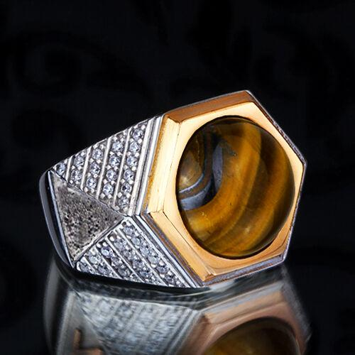 SOLID STERLING SILVER Handmade Ring for Men with Natural Tiger's Eye Gemstone