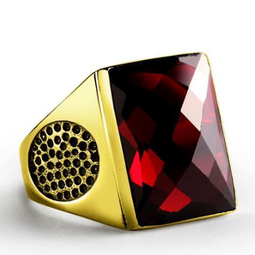 SOLID 14K Yellow Fine GOLD with Red Garnet Gemstone Fine Statement Ring for Men