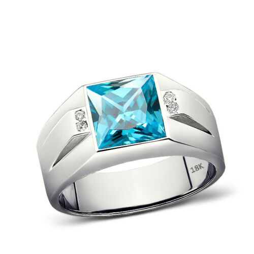 Real 18K White Gold Mens Ring Blue Aquamarine and 4 Diamond Accents Ring