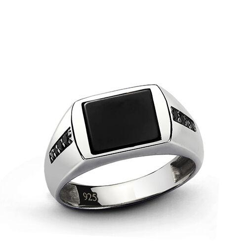 Men's Statement Ring with Natural Black Onyx in Solid Fine 925 Sterling Silver