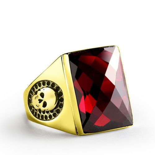 Skulls Men's Ring in 14K SOLID YELLOW GOLD Red Garnet Scorpion Ring Biker Jewelry