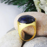 14K SOLID GOLD Mens Ring NATURAL Lapis Round Gemstone Vintage Style Gents Ring