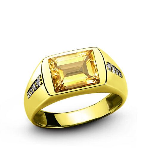 Pure 14K Yellow Fine Gold Men's Citrine Ring with Diamond Accents