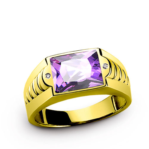 10K YELLOW GOLD Mens Ring Purple Amethyst Gemstone and DIAMOND Accents