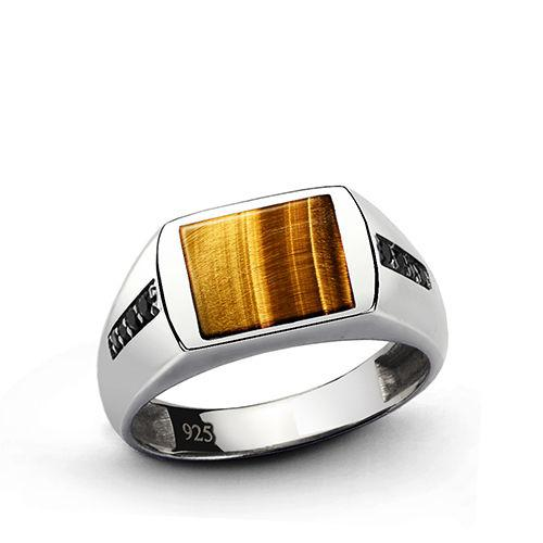 NATURAL TIGER'S EYE Mens Ring SOLID Sterling Silver Classic Style Ring