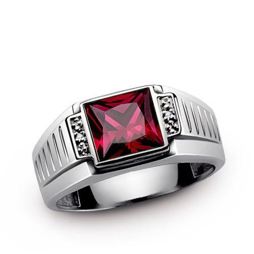 Real 14K Solid  White Gold Mens Ring with Red Rub and Diamond Accents
