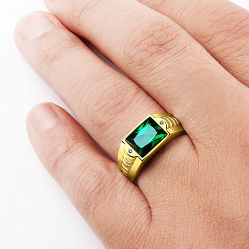 Emerald Mens Ring in SOLID 10K GOLD Gemstone Ring with Diamond Accents All Sz