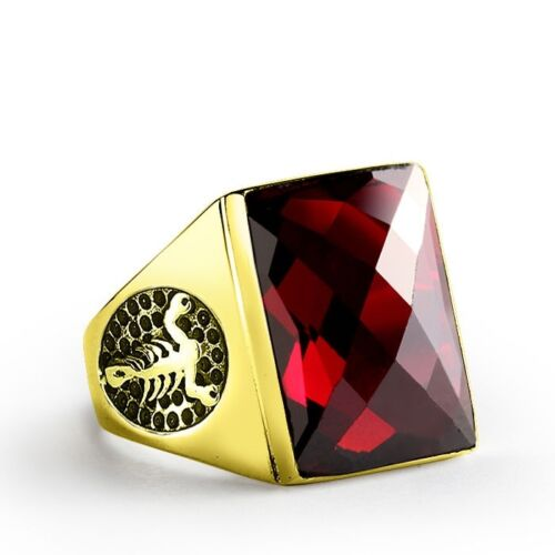 Scorpion  Men's Ring in 14K SOLID YELLOW GOLD Red Garnet Ring