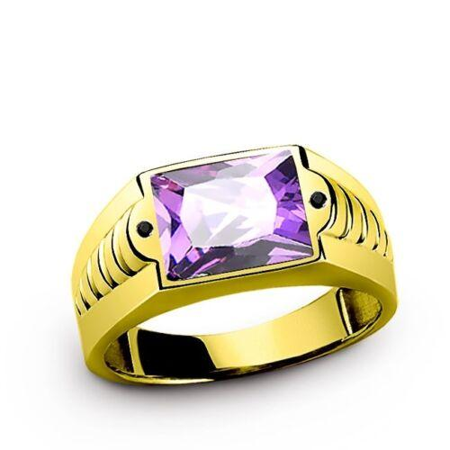 Men's Ring in Solid 10K Yellow Fine GOLD with Amethyst Gemstone