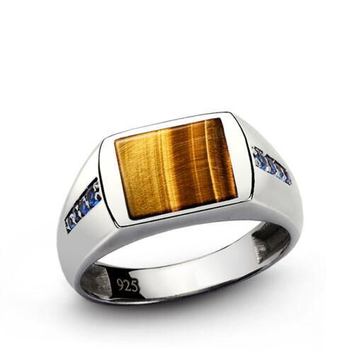 Classic Ring Men GENUINE TIGERS EYE and 8 BLUE SAPPHIRES in Fine Sterling Silver