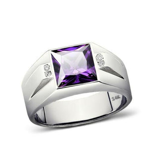 14K White Gold Mens Ring 4 Natural Diamonds Accents and Purple Amethyst
