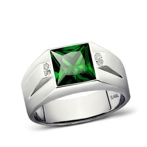 14K White Gold Emerald Men's Ring 0.08ct Natural Diamonds Ring for Man