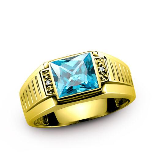 Men's 14K Solid White Fine Gold Statement Ring with Topaz and Diamond Accents