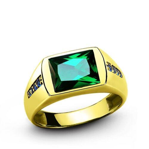 Men's Green EMERALD Ring in REAL 14k Yellow Fine Solid Gold