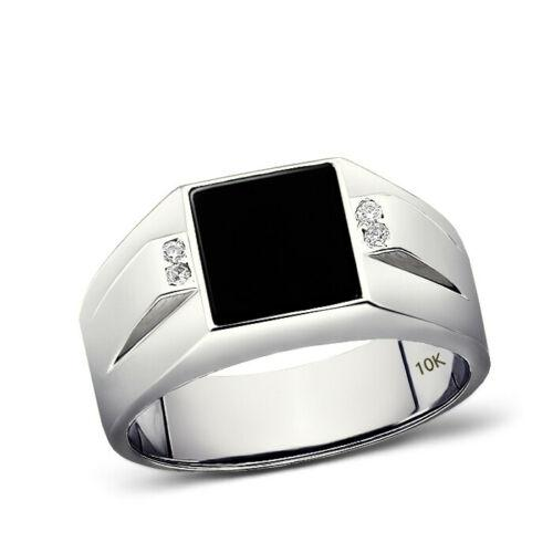 Solid 10K White Gold Estate Geometric Vintage Design Mens Onyx and Diamond Ring