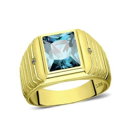 Men's Solid 18K Gold Blue Topaz Gemstone Ring 2 Natural Diamond Accents
