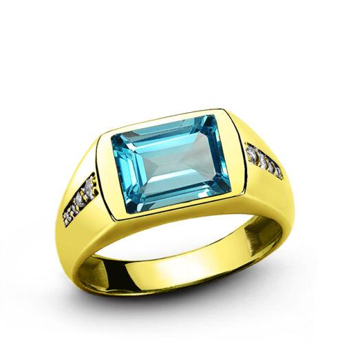 Blue Topaz Stone Yellow Gold 14k Ring for Men and 8 Diamond Accents