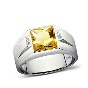 New Solid 14K White Gold Citrine Mens Ring 0.08ct Natural Diamonds Ring for Men