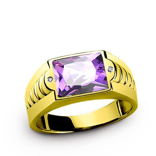NEW 14K Solid YELLOW GOLD Mens Ring with Amethyst Gemstone and DIAMOND Accents