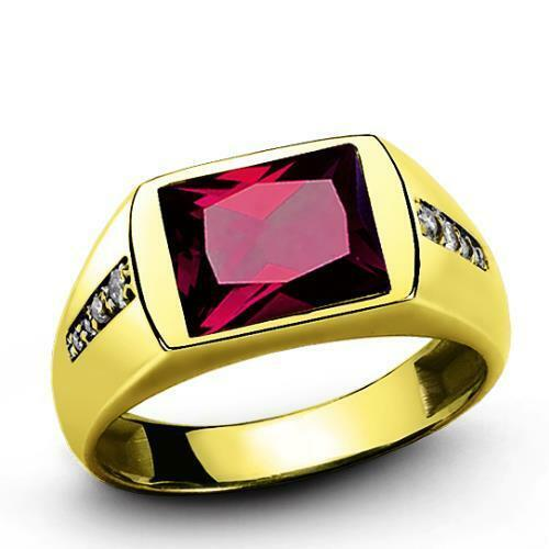 18K Solid Yellow GOLD with Red Ruby Diamond Accents Fine Classic Ring for Men