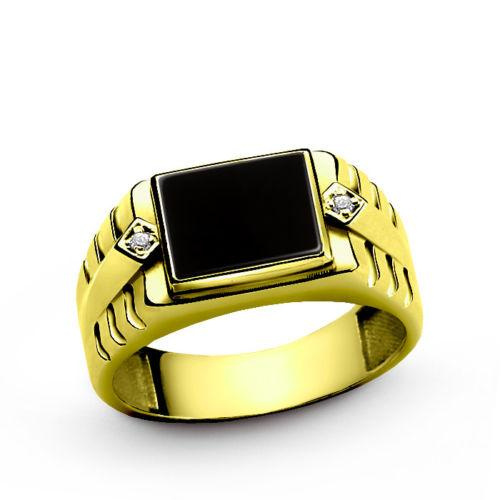 14K Solid Yellow Gold Ring for Men with Natural Onyx Gemstone and 2 Real Diamond