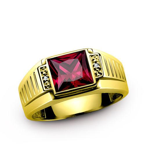 18k Solid Mens Gold Ring Ruby Gemstone Diamond Accents Ring