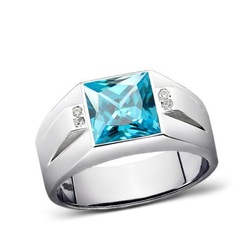 925 Solid Sterling Silver Mens Ring Rectangular Blue Topaz and 4 Real Diamonds
