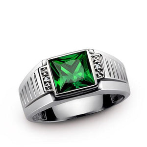 18K SOLID White GOLD with Diamonds and Green Emerald Gemstone Men's Statement Ring