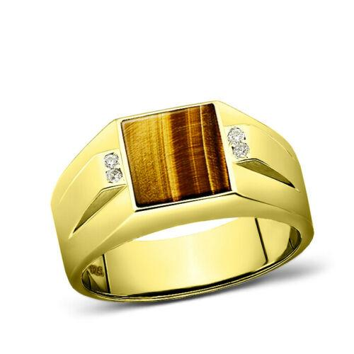 925 Solid Silver Men's 18K Gold Plated Ring Brown Tiger's Eye 4 Diamond Accents