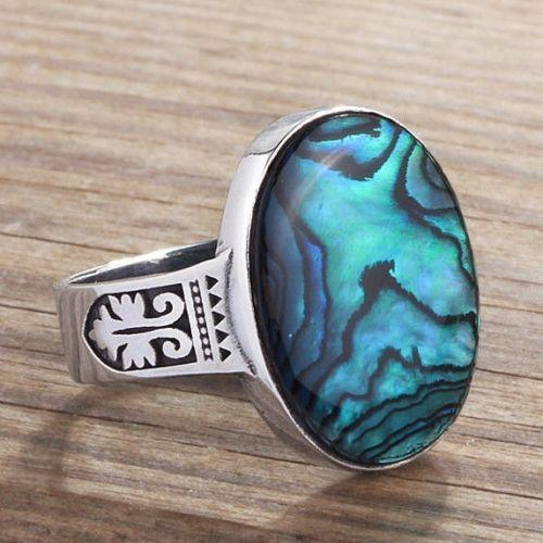 10k White Gold Ring For MEN with Natural ABALONE Gemstone