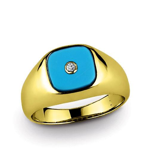 Classic Men's Ring with Earth Mined DIAMOND and Real TURQUOISE in SOLID 14K GOLD