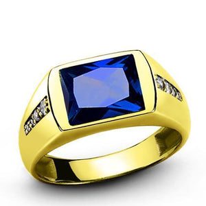 MEN'S RING Blue Sapphire and 8 Diamond Accents in Real 14K Yellow Solid Fine Gold