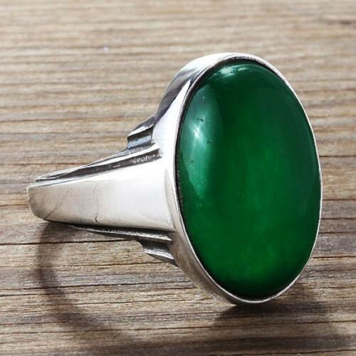 ArtDeco Vintage Style Men's Green Agate  Ring in Solid Real 10k White Gold