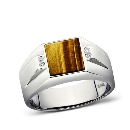 Solid 14K White Gold Tiger's Eye Mens Ring 0.08ct Natural Diamonds Ring for Men