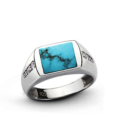 Diamond Men's Ring with Blue Turquoise Gemstone 925 Sterling Silver