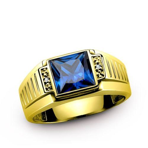 Men's Sapphire Ring REAL 14K SOLID GOLD with DIAMOND Accents Fine jewelry
