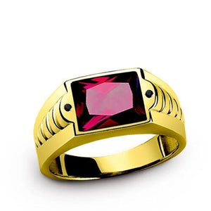 Men's Red Ruby Ring in 10K SOLID Fine Yellow GOLD with 2 Onyx Gemstone Accents